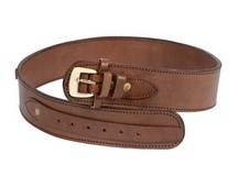 Western Justice Gun Belt, 42-46 inch Waist, .38-Cal Loops, 2.5 inch Wide, Chocolate Leather