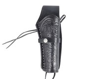 Western Justice Hand-Tooled Leather Holster, 6 inch, Black, Right Hand
