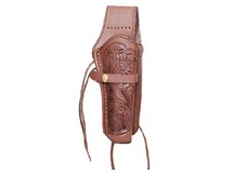 Western Justice Hand-Tooled Leather Holster, 6 inch, Chocolate, Right Hand