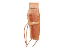 Western Justice Hand-Tooled Leather Holster, 6 inch, Natural, Right Hand