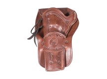 Western Justice Hand-Tooled Leather Holster, 6 inch, Mahogany, Left Hand