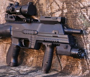 Umarex's EBOS CO2 automatic bb rifle with Walther accessories