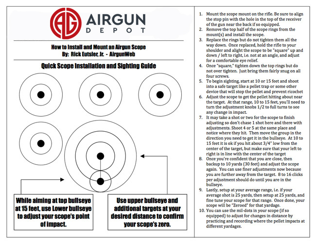 Airgun Depot Scope sight-in Air Rifle or Air Pistol Targets