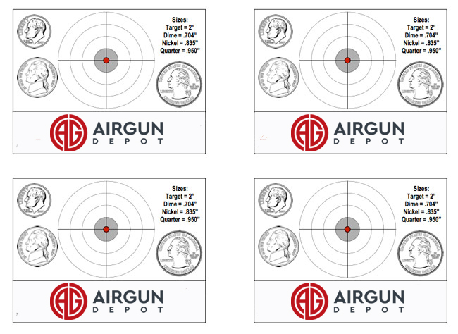 Airgun Depot Size Reference Air Rifle or Air Pistol Targets
