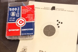 Open sight 5 shot group from 10 meters rested with Crosman Competition Wadcutters