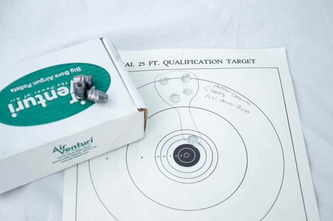Second test group using Air Venturi 115 grain hollow points, had 1 low flyer.