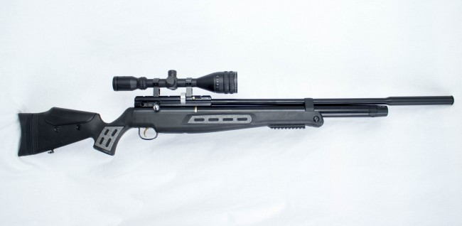 Test rifle set up with 4-12x50 Hawke HD scope.